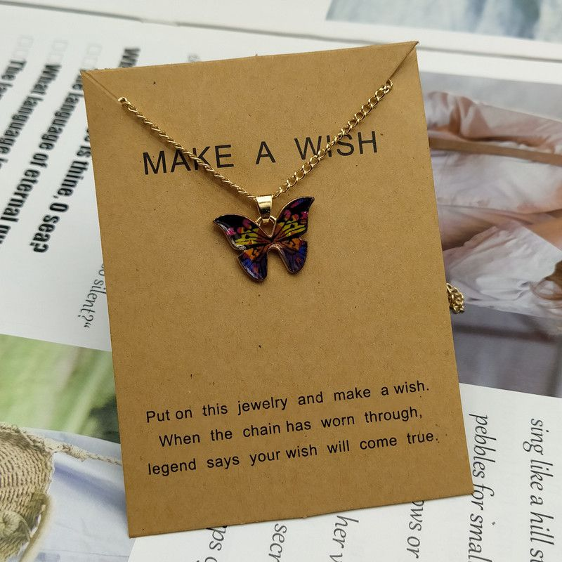 Cute Butterfly Pendant Necklace for Women Golden Color Statement Necklace Jewelry Gifts