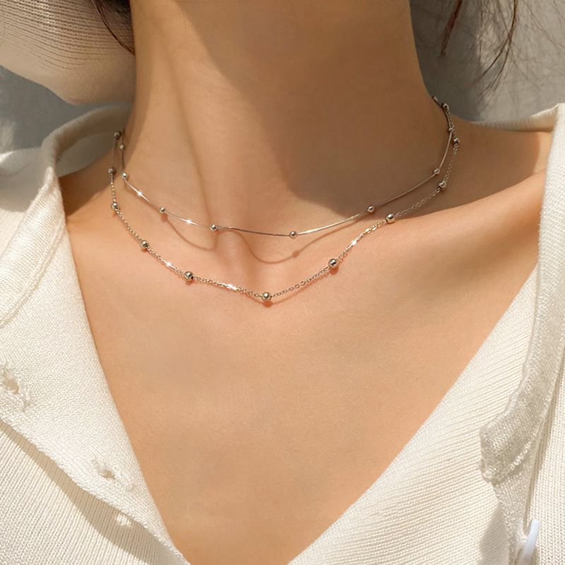 925 Sterling Silver Round Pendants Bead Chain Necklace Snake Chain Choker Shiny Cute Girl Gift Fine Jewelry Wholesale