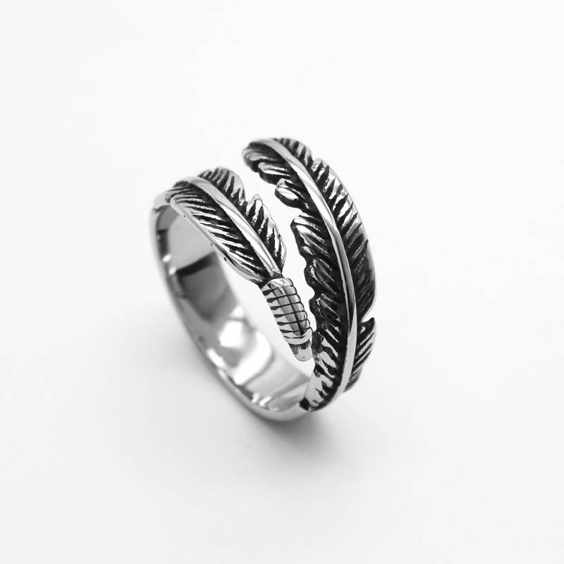 Retro High-quality 925 Sterling Silver Jewelry Thai Silver Not Allergic Personality Feathers Arrow Opening Rings