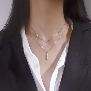 925 Sterling Silver Double layer Necklace Round Shiny Full Zircon Long pendant Necklaces Gift For Girl Fine Accessories