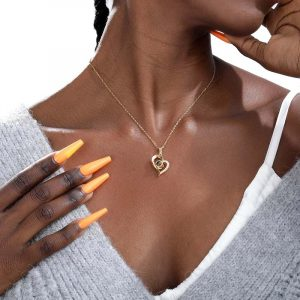 Bridesmaid gift 100 languages I love you Projection Pendants Necklaces Rose Gold Chain Heart Shape Letter Necklace