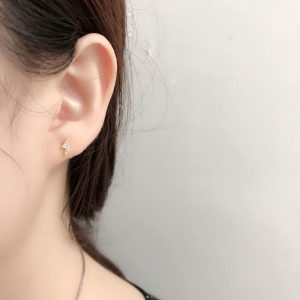 Simple Fashion 925 Sterling Silver Crystal Lightning Stud Earrings Women Exquisite Girlfriend Jewelry Accessories