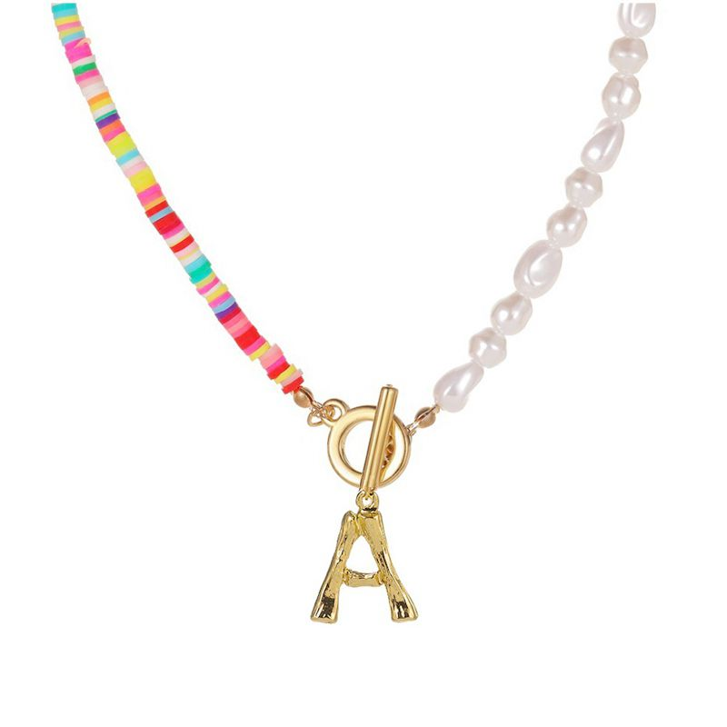 Simulated Pearl Necklace for Women Jewelry Name Gold Bamboo English Alphabet Initial Letter Pendants Toggle Chain