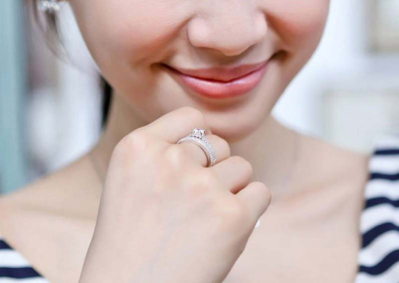 Simple Design Double Stackable Fashion Jewelry 925 Silver Rings for Women Bridal Sets Wedding Engagement Ring Accessory