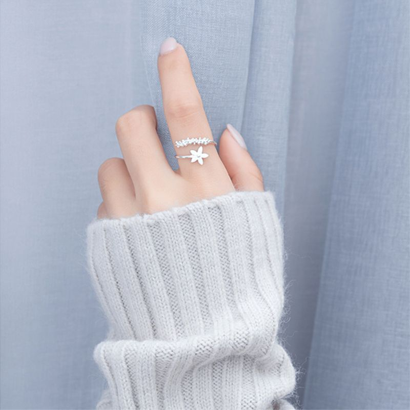 Fresh Flower 925 Sterling Silver Temperament Personality Literary Fashion Gift Korea Female Resizable Opening Rings