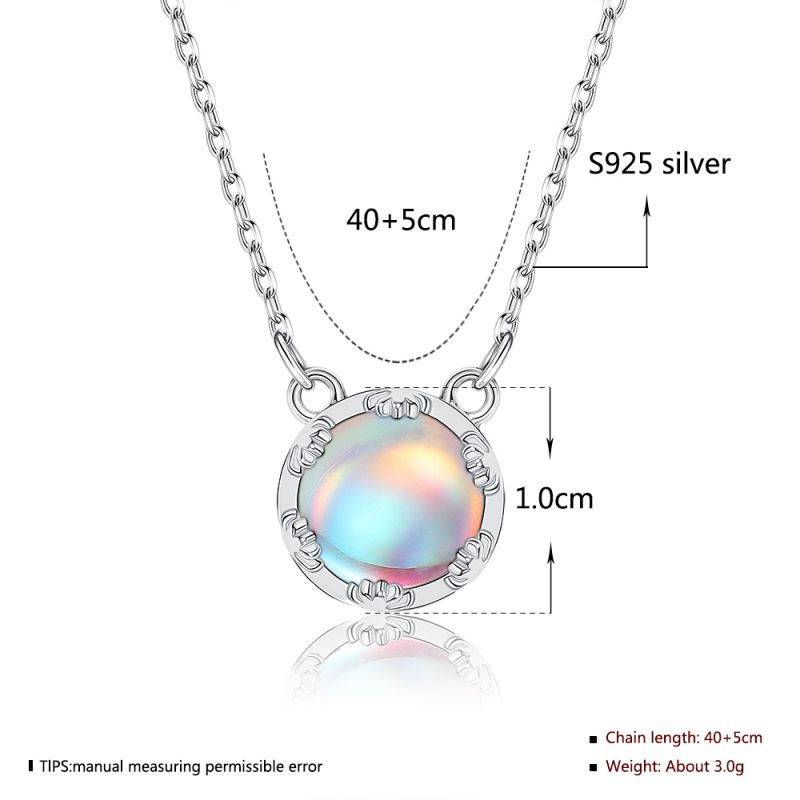 32949017262 Main 22 - Aurora Pendant Necklace Halo Crystal Gemstone s925 Silver Scale Light Necklace Elegant Jewelry Gift for Women