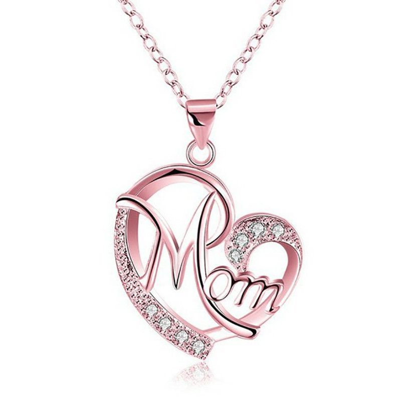 MUM Letters Love Mom Necklace Jewelry Heart Letter Pendant Necklace Mother Day Birthday Gift