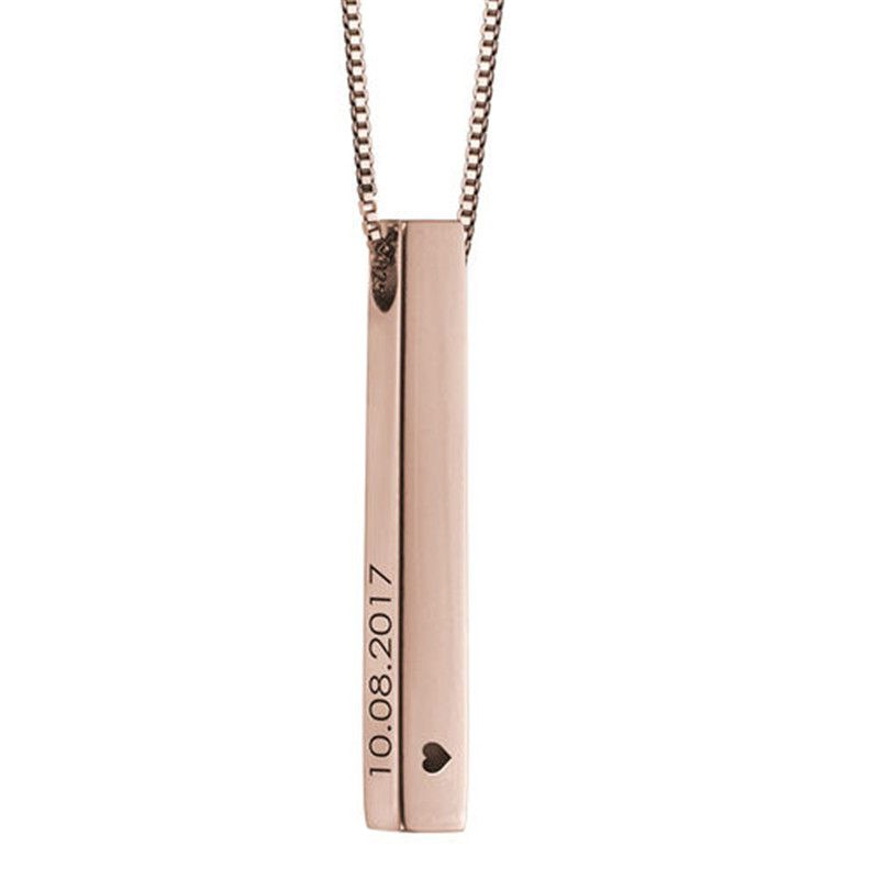 Personalized Engraving Custom 3d Bar Jewelry Stainless Steel Name Necklaces & Pendants Women/Men Mother's Day Gift