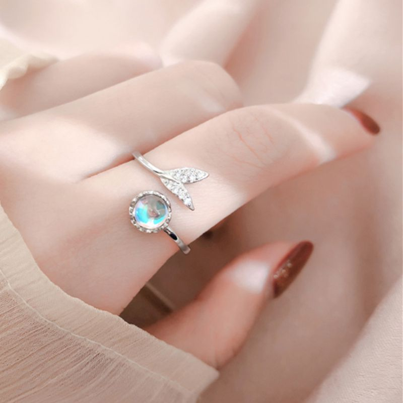 Cute Tail Moonstone Personality Adjustable Ring Fine Jewelry for Women Party Elegant Accessories Resizable 925 Sterling Silver