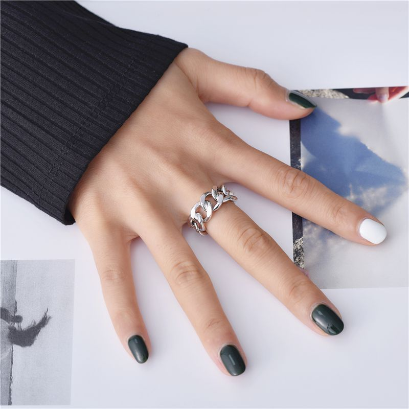 Trendy 925 Sterling Silver Chain Rings for Women Couples Vintage Handmade Twisted Geometric Finger Jewelry Party Gifts