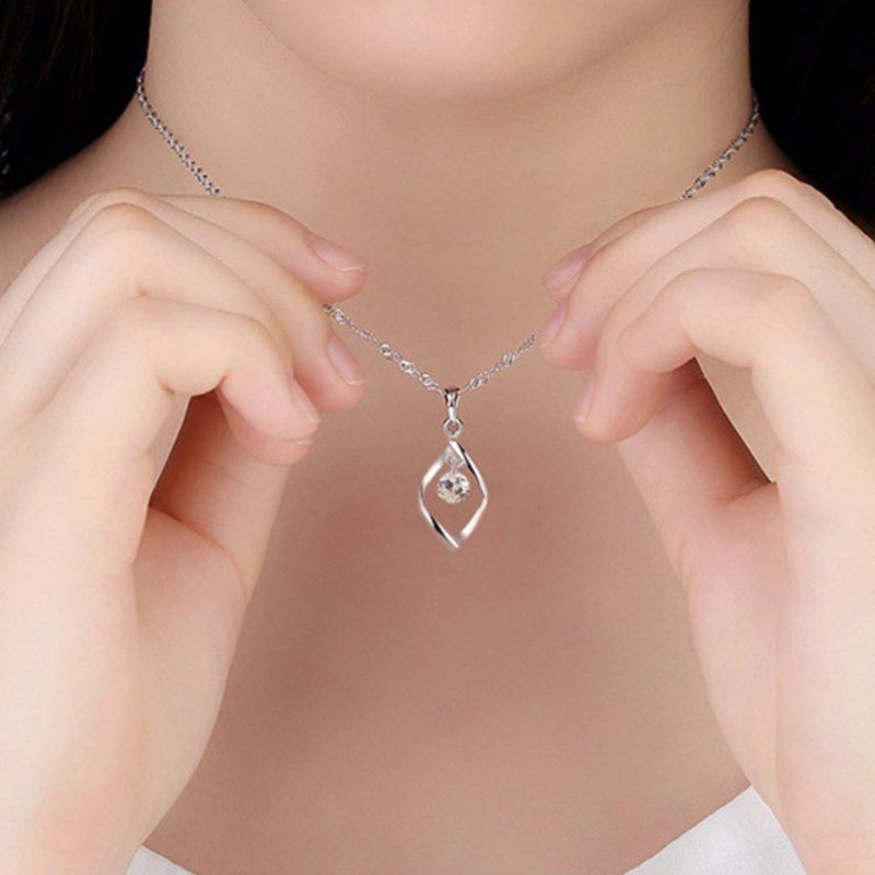 Women's fashion new 925 sterling Silver jewelry high quality crystal zircon retro simple pendant necklace
