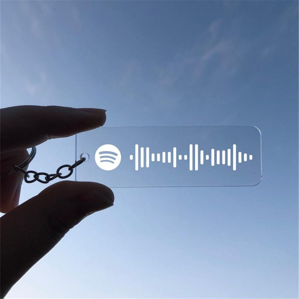 Spotify Code Personalized Music Spotify Scan Code Keychain for Women Men Stainless Steel Keyring Custom Laser Engrave Jewelry