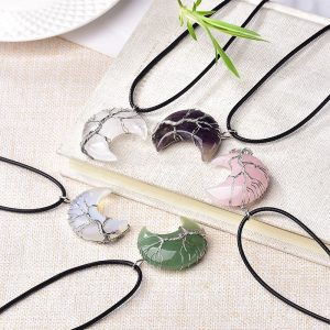 Natural Moon Shape Crystal Pendant Tree of Life Reiki Polished Mineral Jewelry Healing Stone Jewelry Gift