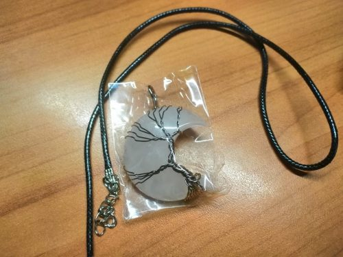 Natural Moon Shape Crystal Pendant Tree of Life Reiki Polished Mineral Jewelry Healing Stone Jewelry Gift photo review