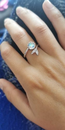 Cute Tail Moonstone Personality Adjustable Ring Fine Jewelry for Women Party Elegant Accessories Resizable 925 Sterling Silver photo review
