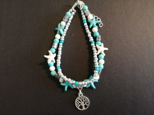 Crystal Stone Anklets Double Beach Foot Chain Conch Starfish Alloy Turtle Pendant Leg Bracelet Women Bohemian Jewelry photo review